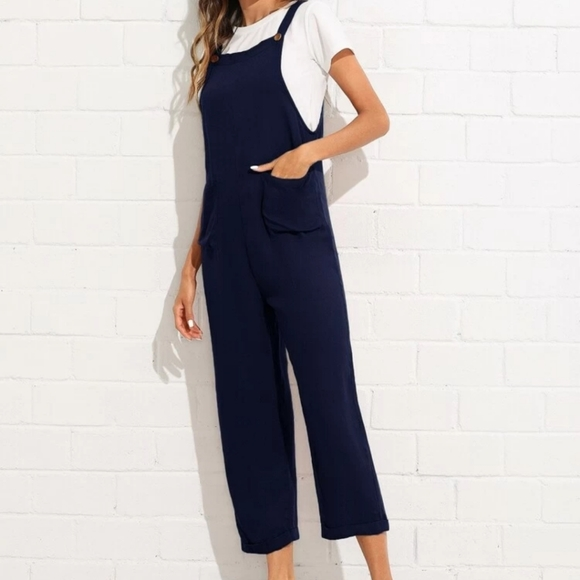 Shein navy front pockets overhall jumpsuit